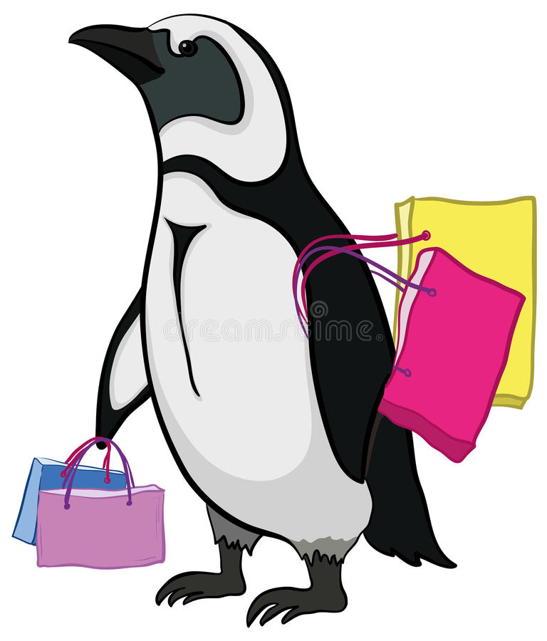 Penguin With Bags Stock Photo