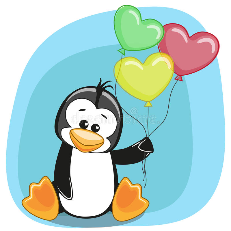 Penguin with balloons. Greeting card Penguin with balloons royalty free illustration