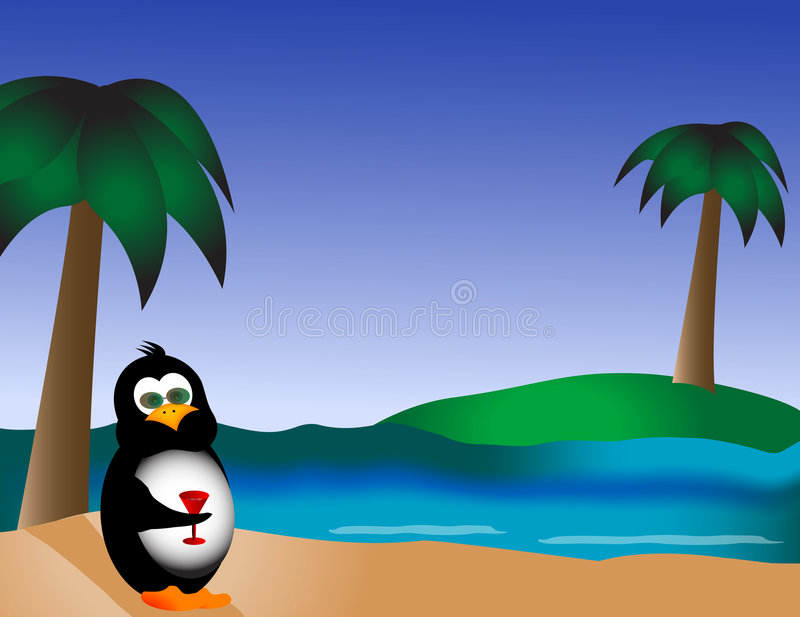 Penguin on the Beach with Drink vector illustration