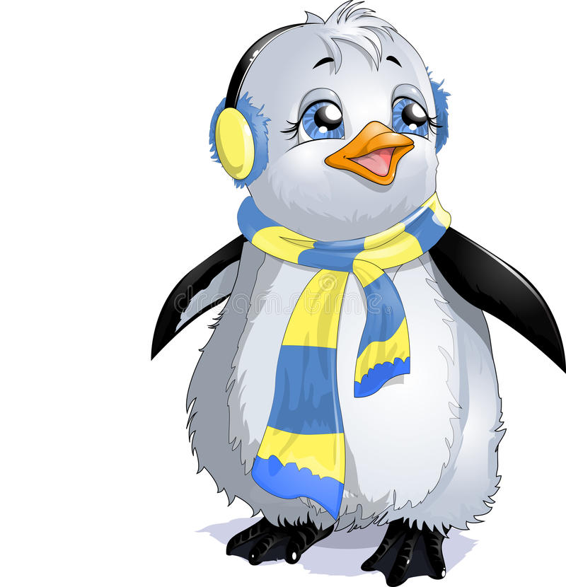 Penguin. In a beautiful scarf on a white background royalty free illustration