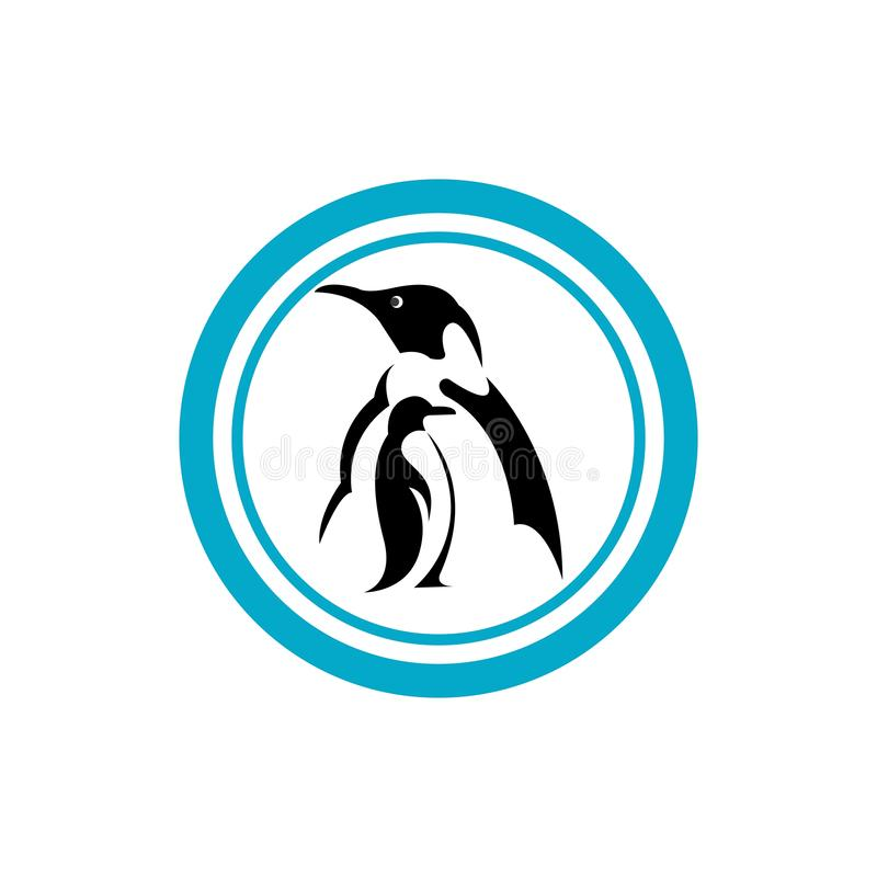 Penguin. Bird vector logo, arctic animal symbol, nature, wildlife, sea, natural, antarctic, group, snow, marine, landscape, day, outdoors, colony, scenic stock illustration