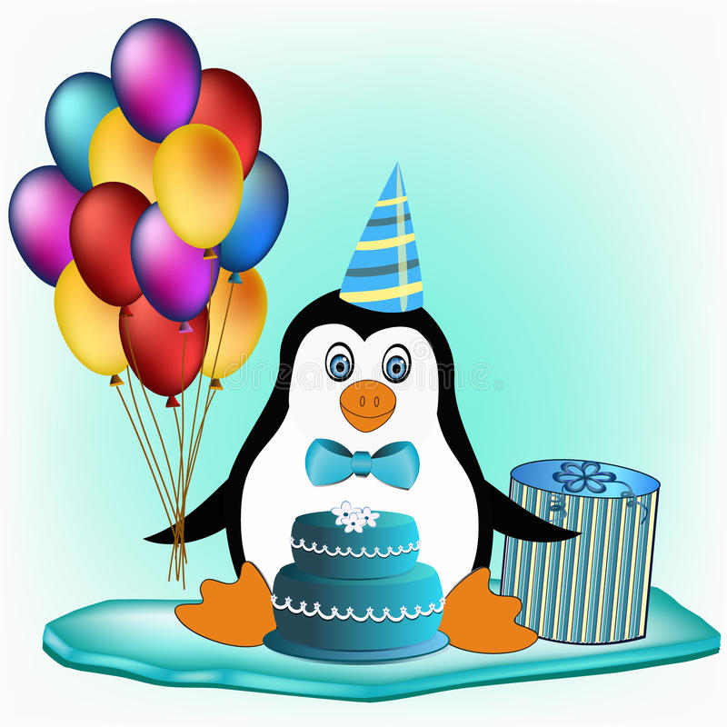 Penguin with cake, balloons and cake stock photography