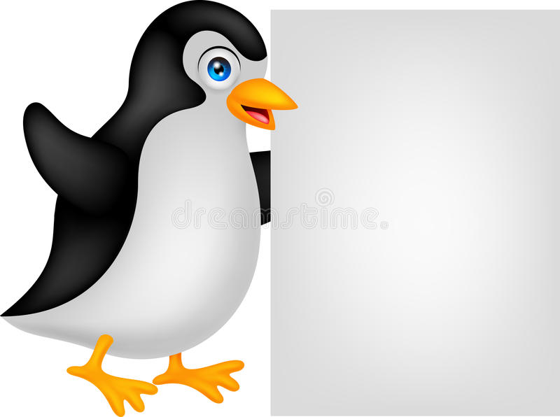 Penguin cartoon with blank sign vector illustration