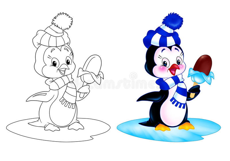 Penguin cartoon ice cream. Penguin of eating ice cream while standing on an ice floe cartoon illustration coloring page royalty free illustration