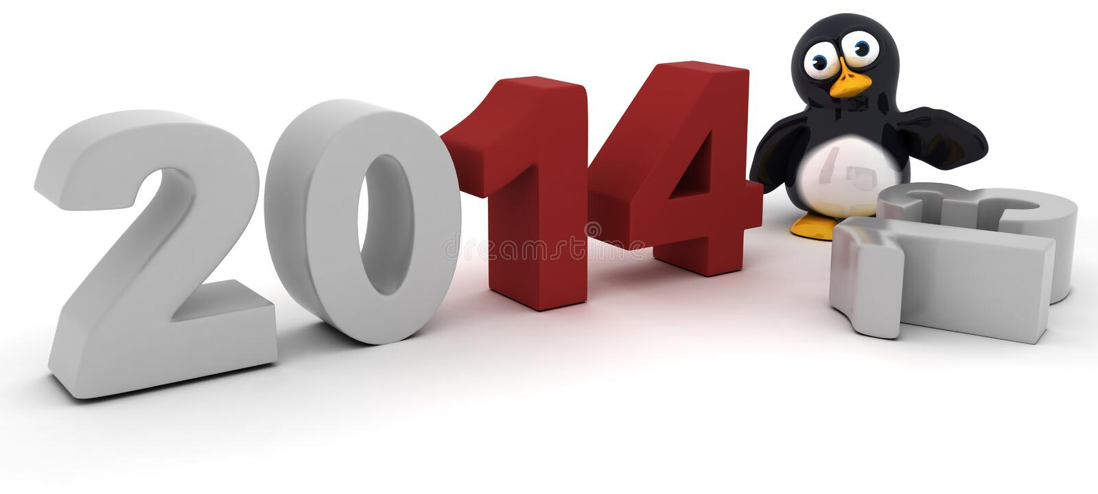 Penguin Character Bringing In The New Year Royalty Free Stock Images