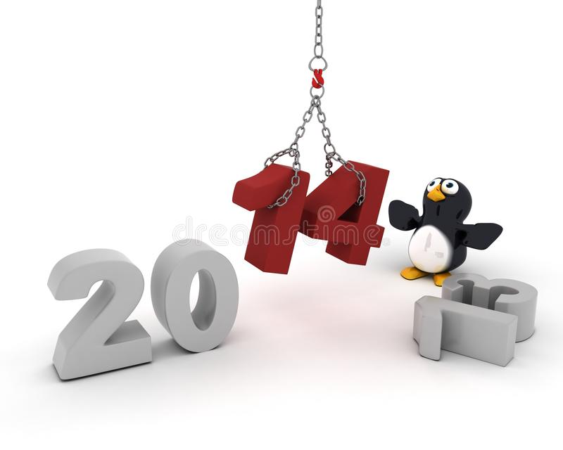 Penguin Character Bringing In The New Year Stock Photo