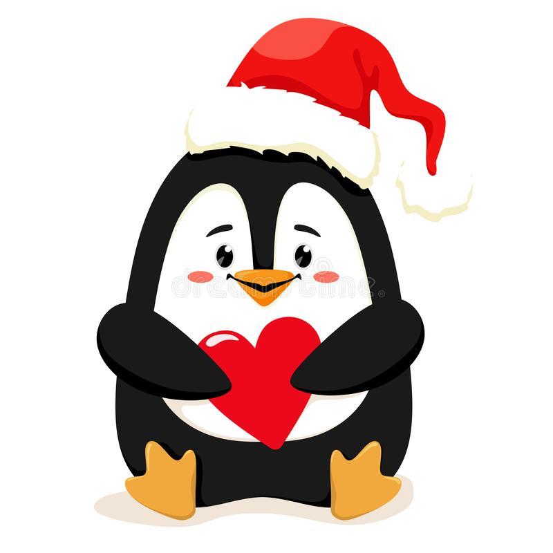 A cute and cheerful little penguin in a red Santa hat with a heart in her paws is waiting for Christmas. Vector illustration in ca royalty free illustration