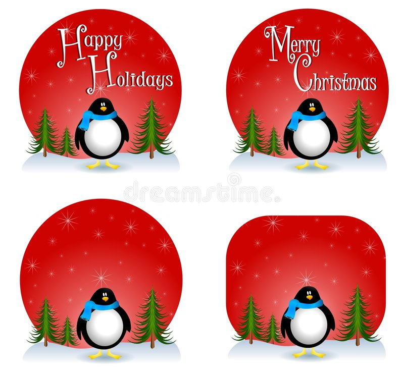 Penguin Christmas Backgrounds Royalty Free Stock Photos