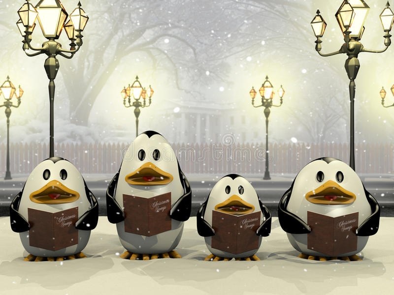 Penguin Christmas chorus. Very high resolution illustration of a penguin Christmas chorus stock illustration