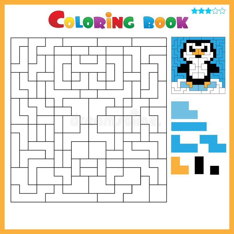 Penguin. Color The Image Using Shapes. Coloring Book For ...