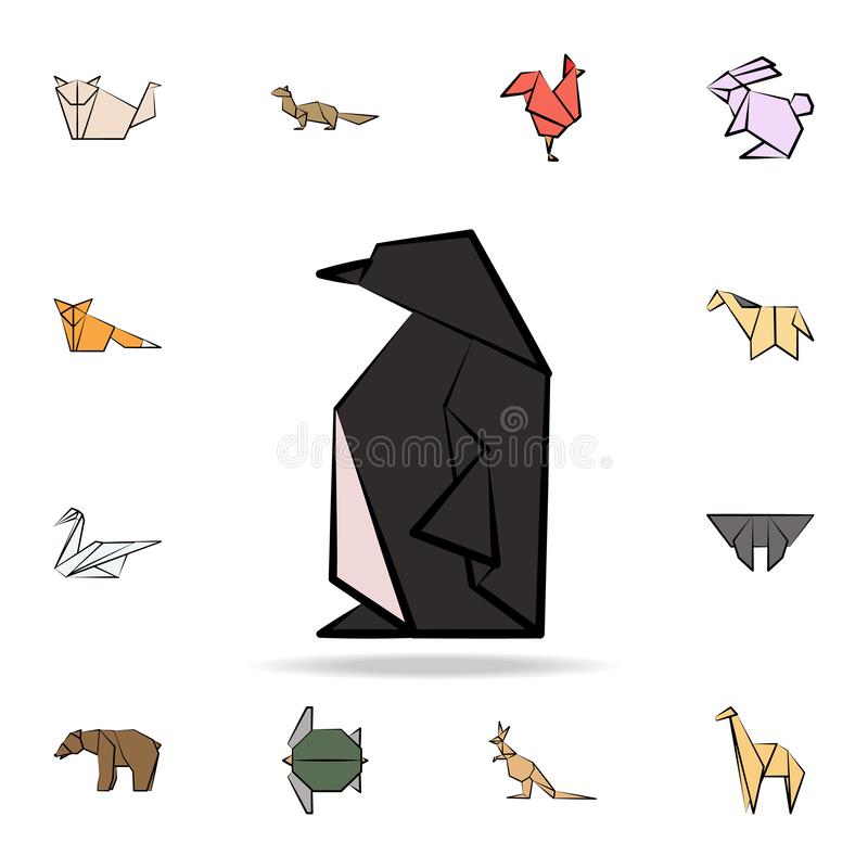 Penguin colored origami icon. Detailed set of origami animal in hand drawn style icons. Premium graphic design. One of the. Collection icons for websites, web royalty free illustration