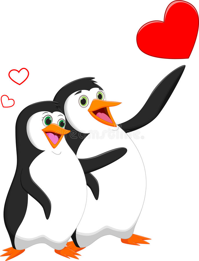 Penguin couple in love with heart stock illustration