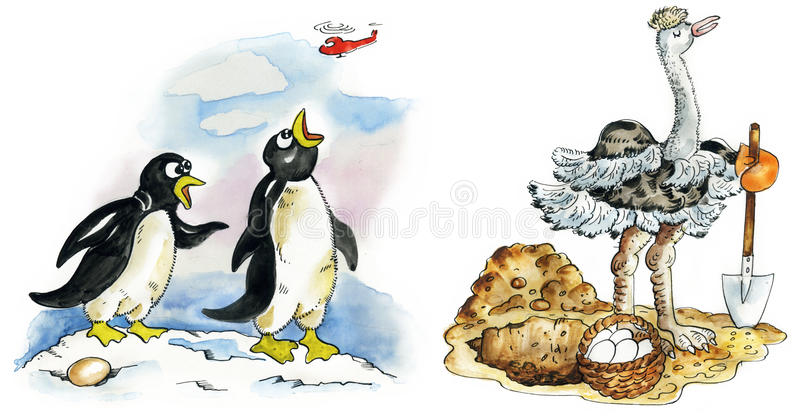 Penguin couple and ostrich royalty free illustration