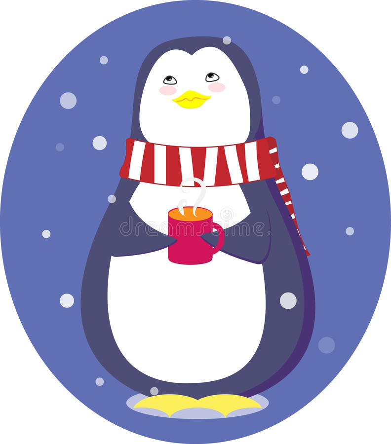 Penguin with a cup stock photo