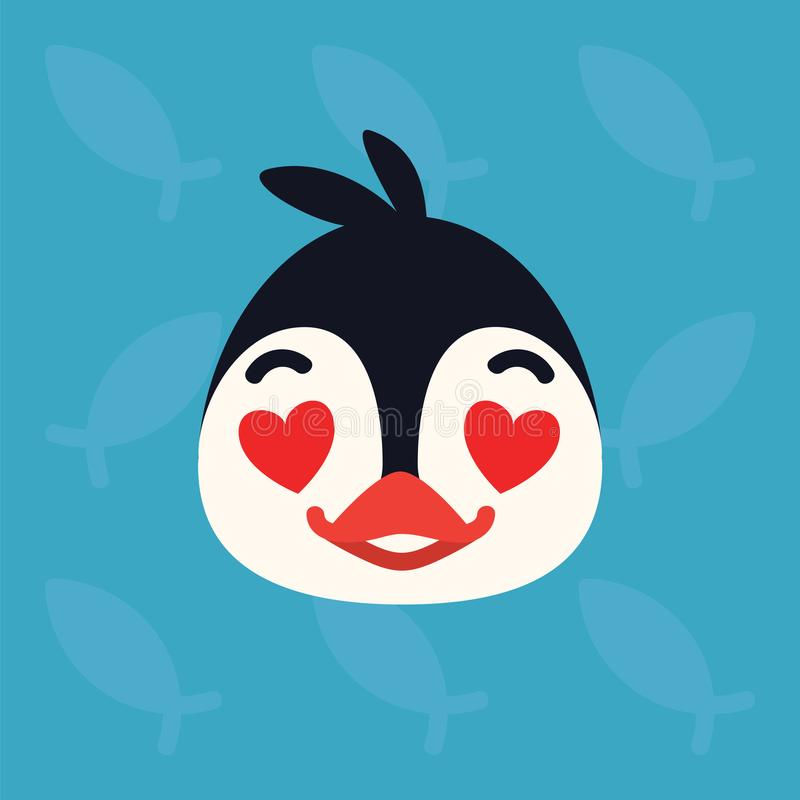 Penguin emotional head. Vector illustration of cute arctic bird shows amorous emotion. In love emoji. Smiley icon. Print. Chat, communication. Penguin in flat stock illustration
