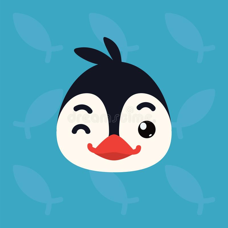 Penguin emotional head. Vector illustration of cute arctic bird shows playful emotion. Blinking emoji. Smiley icon. Print, chat, communication. Penguin in flat royalty free illustration
