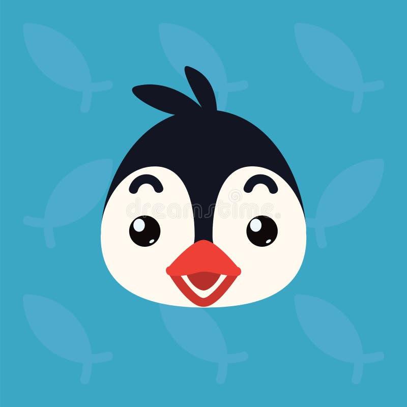 Penguin emotional head. Vector illustration of cute arctic bird shows surprised emotion. Shocked emoji. Smiley icon stock illustration