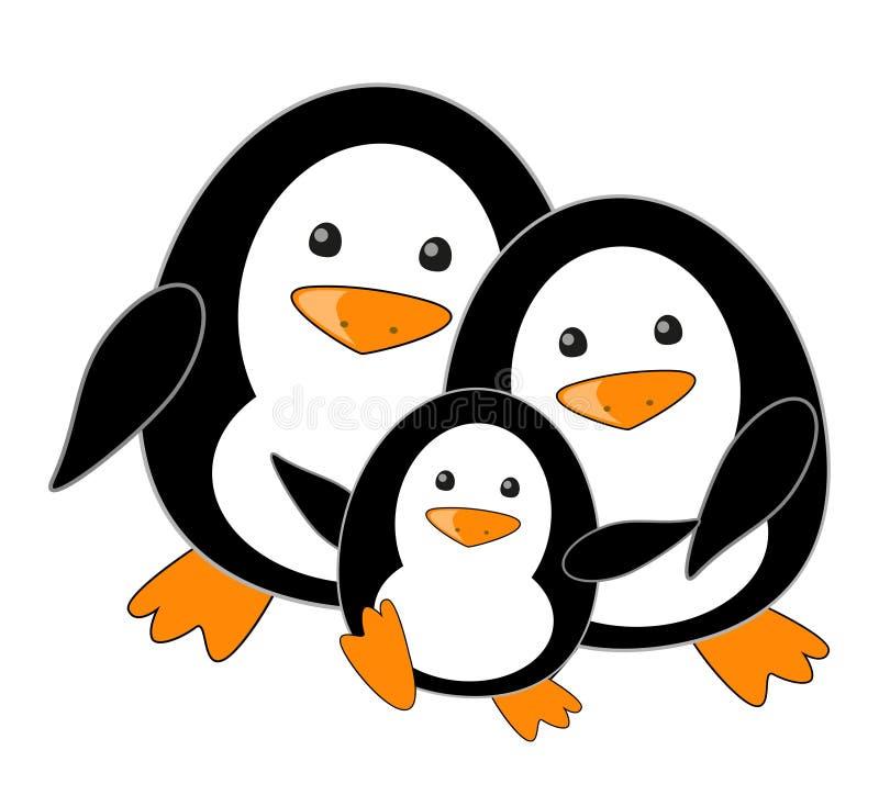 Penguin family vector illustration