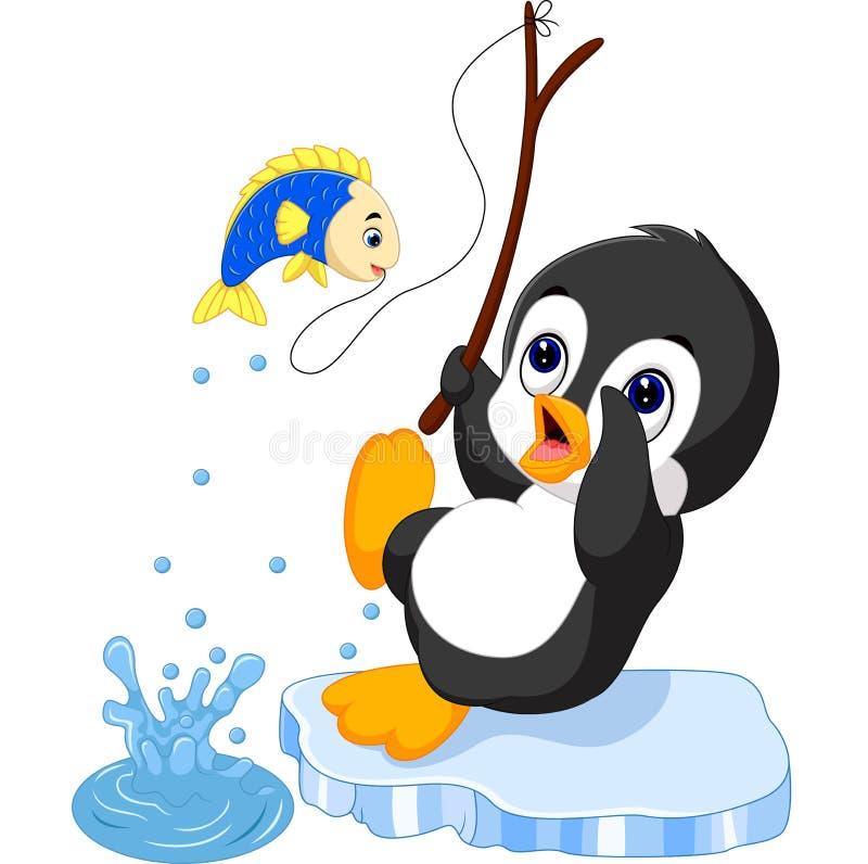 Penguin fishing royalty free illustration