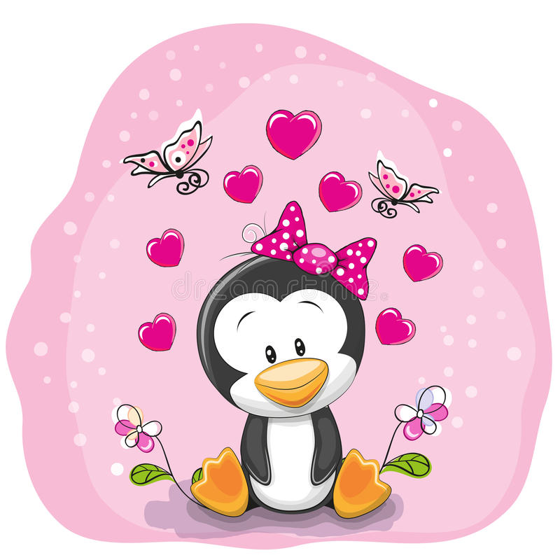 Penguin with flowers. Cute Cartoon Penguin with flowers on a pink background
