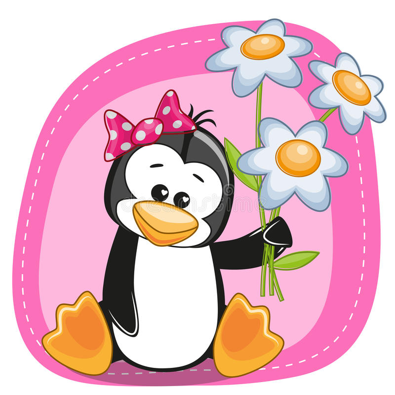 Penguin with flowers. Greeting card Penguin with flowers stock illustration