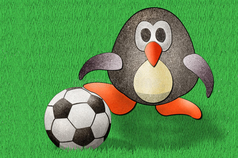 Penguin Football  Recycled Paper Royalty Free Stock Image