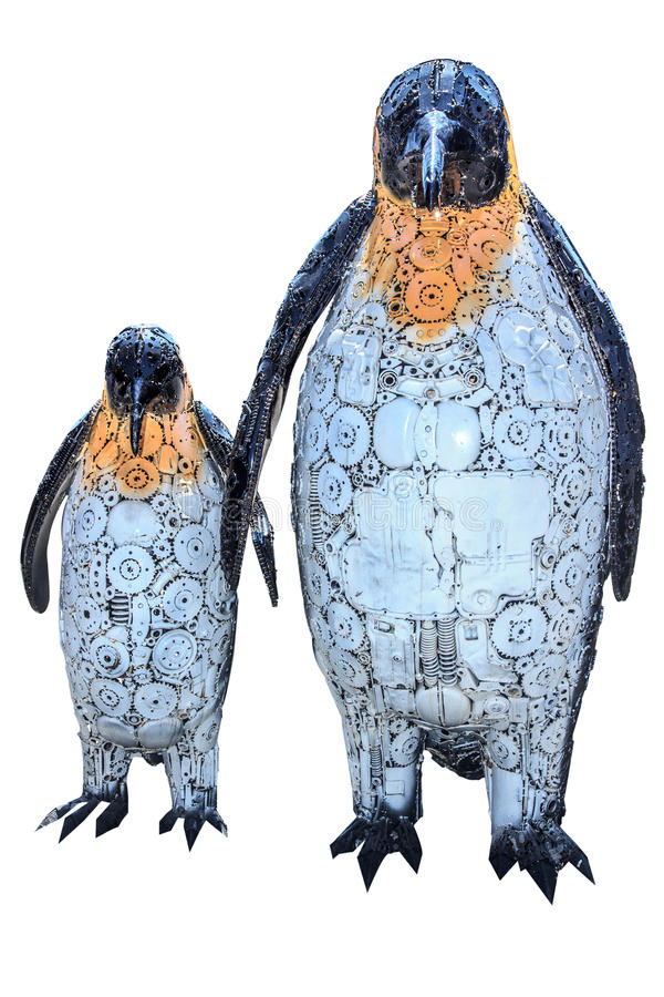 Very best Penguin Funny Sculpture Made From Scrap Metal On White Backgroun  FV42