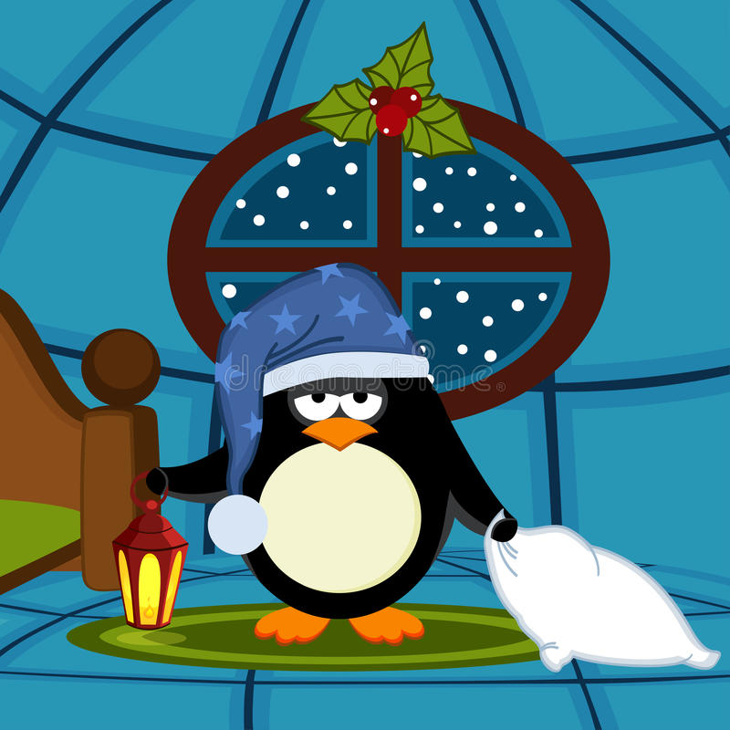 Penguin goes to sleep. Vector illustration, eps royalty free illustration