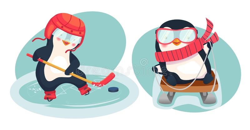 Penguin hockey player and penguin on sled. Childrens sports concept. Active penguins. Vector illustration royalty free stock images