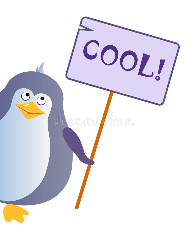 Penguin holds a sign with an inscription `COOL`. stock illustration