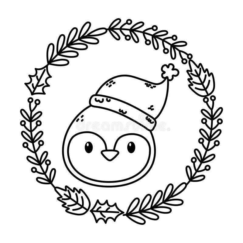Penguin Kopfkranzdekoration feierliche fröhliche Weihnaststmütterliche dicke Linie lizenzfreie abbildung