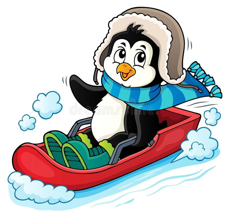 Free Penguin On Bobsleigh Theme Image 1 Stock Images - 164130934