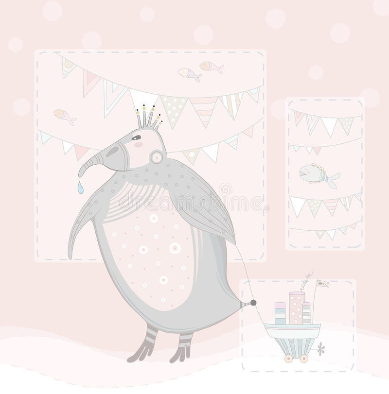 Penguin in pink. royalty free stock images