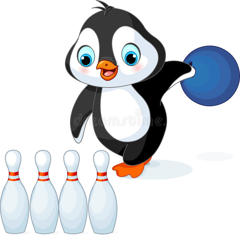 Penguin plays Bowling vector illustration