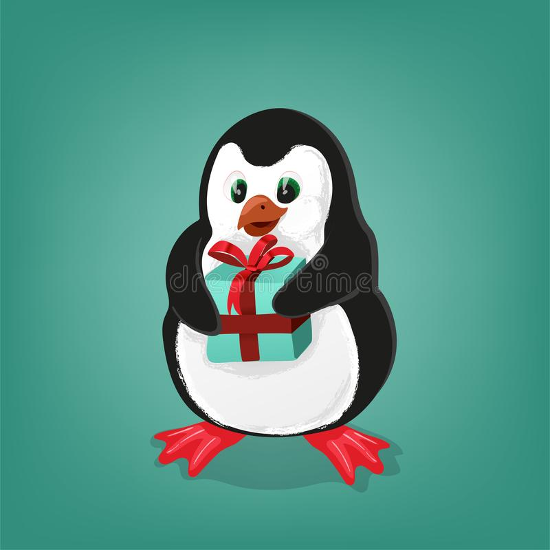 Penguin with present Christmas card vector illustration stock illustration