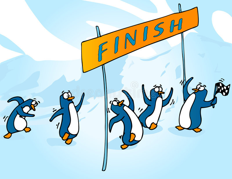 Penguin race. Penguins racing through a finish line stock illustration