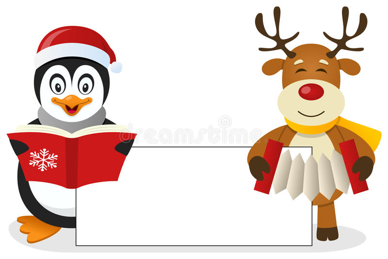 Penguin & Reindeer with Blank Banner. A cute Christmas penguin singing and a reindeer playing the accordion holding a blank banner. Eps file available stock illustration