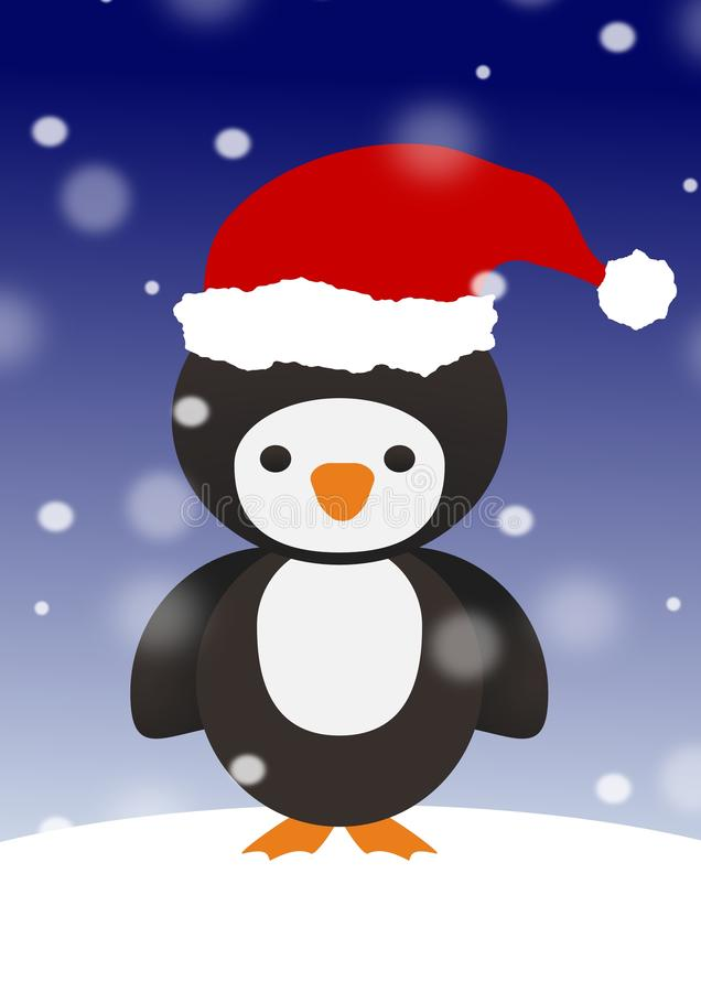 Penguin in Santa hat royalty free stock photography