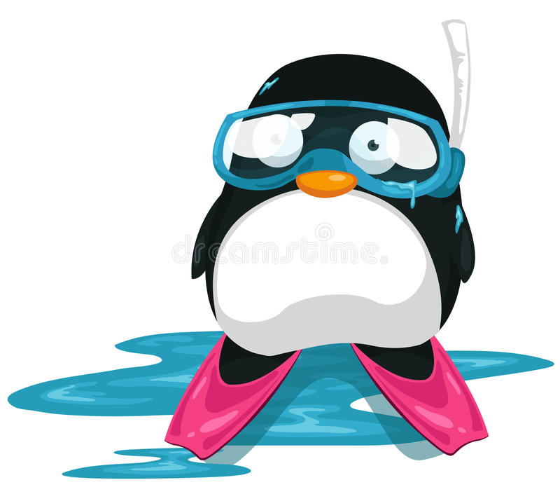 Penguin scuba diver stock illustration