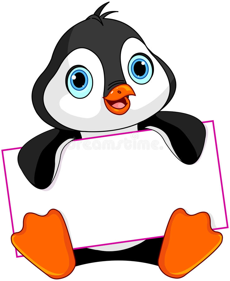 Penguin sign. Cute Penguin holds a sign royalty free illustration