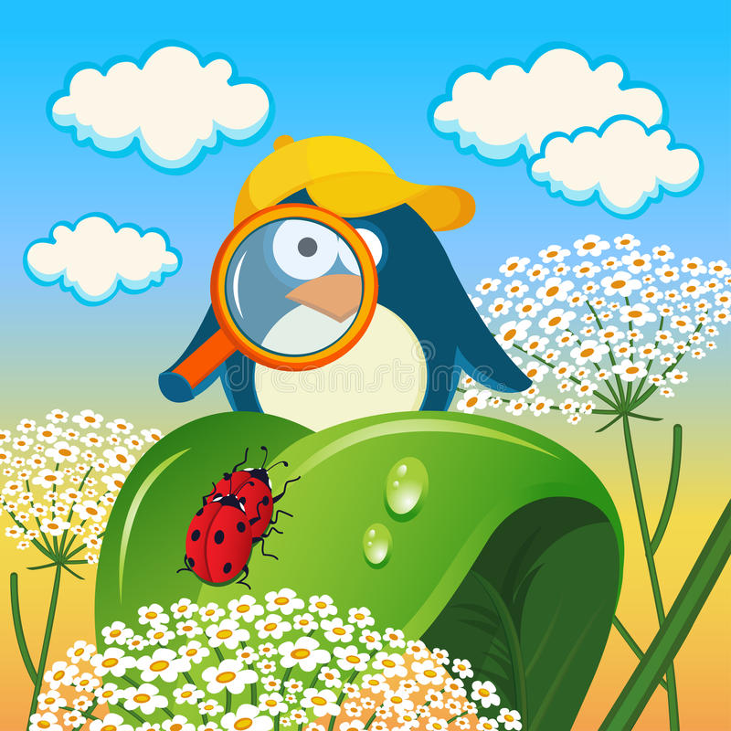 Download Penguin Is Studying Insects Stock Vector - Image: 32161564