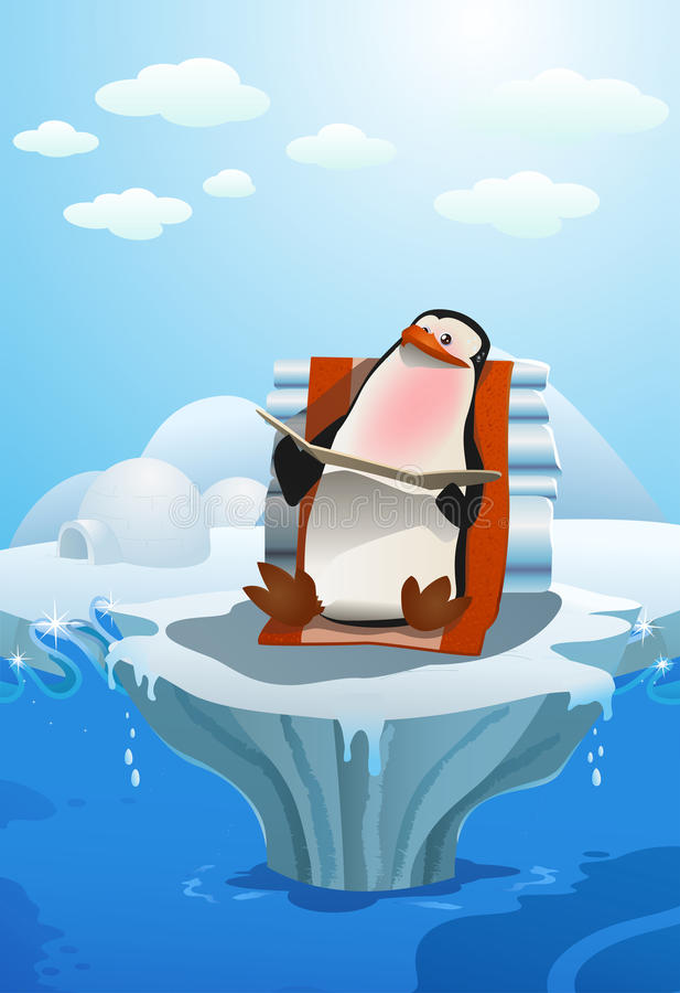 Penguin sun bathing. Illustration of a penguin sun bathing because of global warming effect in north pole