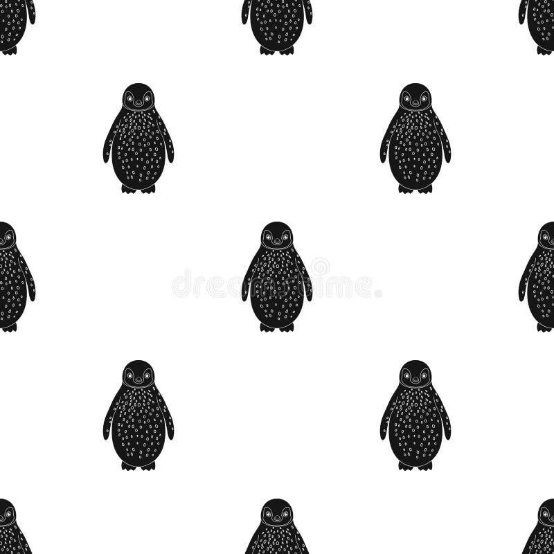 penguin Tiere sondern Ikone im schwarzen Artvektorsymbolvorrat-Illustrationsnetz aus lizenzfreie abbildung