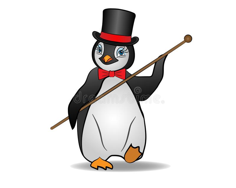 Penguin in top hat dancing. Stylish penguin in top hat and cane dancing; Vector illustration stock illustration