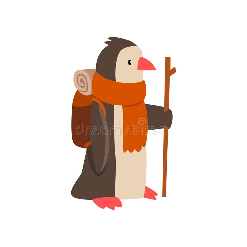 Penguin travelling with backpack and staff, cute cartoon bird having hiking adventure travel or camping trip vector royalty free illustration