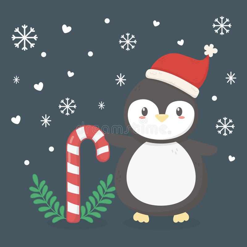 Free Penguin With Hat And Cany Cane Celebration Merry Christmas Poster Stock Photography - 160592612