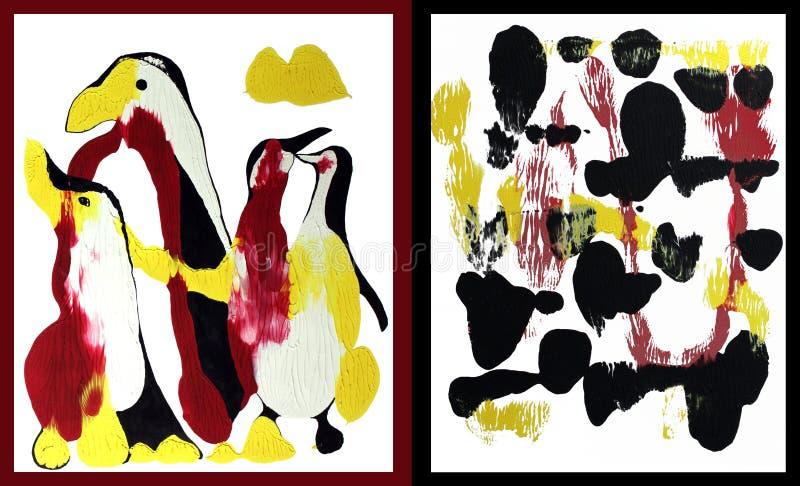 Penguine familjkonst royaltyfri fotografi