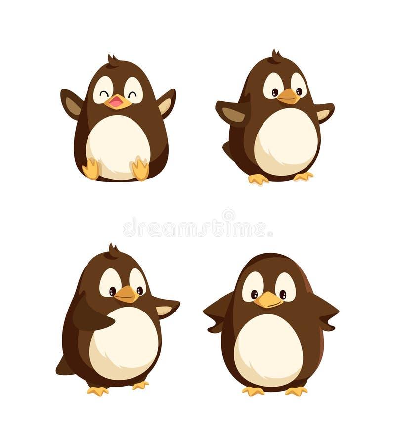 Penguiner som visar emotion Animal Isolated Icons vektor illustrationer