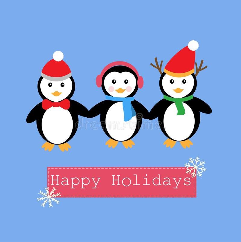 Penguins και έμβλημα για τις ευτυχείς διακοπές διανυσματική απεικόνιση