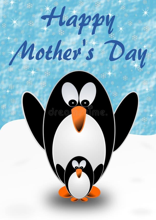 2 penguins, μητέρα και παιδί, με τους χαιρετισμούς ημέρας της μητέρας στα αγγλικά ελεύθερη απεικόνιση δικαιώματος